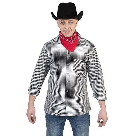 Zwart met wit geruit cowboy overhemd voor heren 52-54 (L/XL) Multi