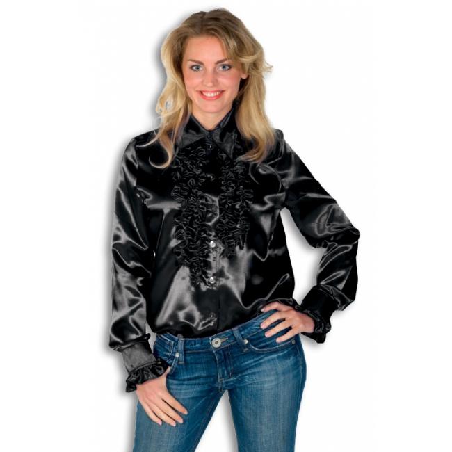 Zwart overhemd met rouches 38 (M) Zwart
