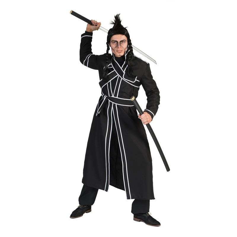 Zwart samurai verkleed kostuum voor heren 52-54 (L/XL) Zwart