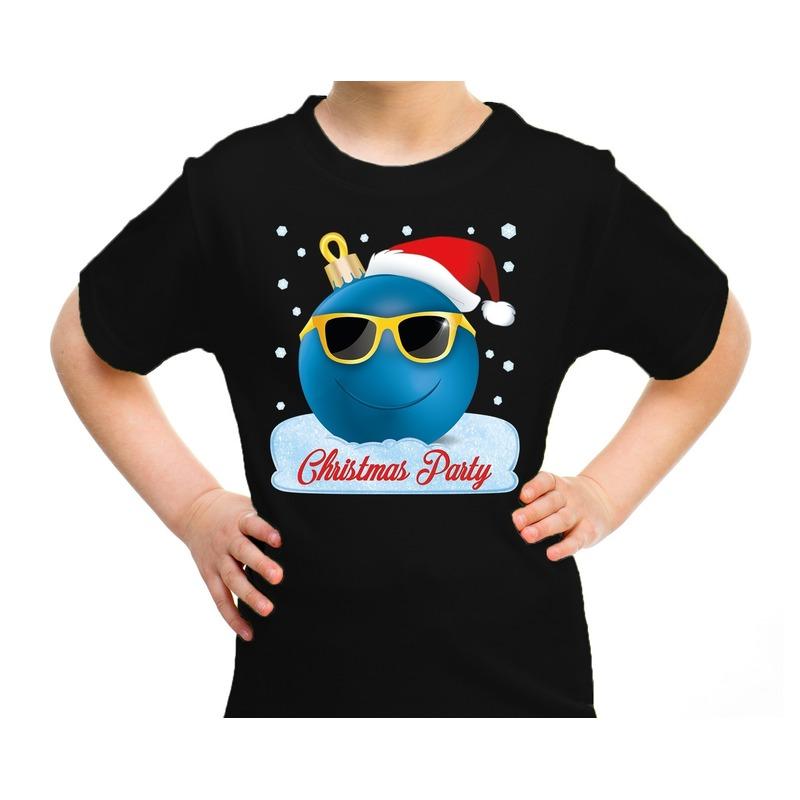 Zwart t-shirt / kerstkleding coole blauwe kerstbal christmas party voor kinderen M (116-134) Zwart