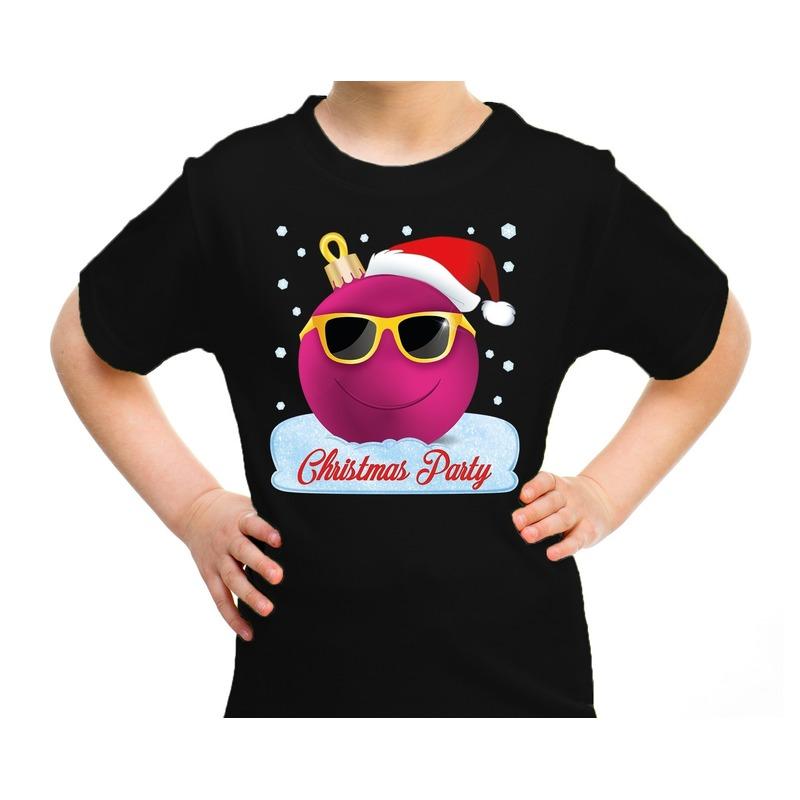 Zwart t-shirt / kerstkleding coole roze kerstbal christmas party voor kinderen XS (104-110) Zwart