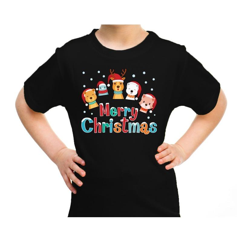 Zwart t-shirt / kerstkleding dierenvriendjes Merry christmas voor kinderen M (116-134) Zwart