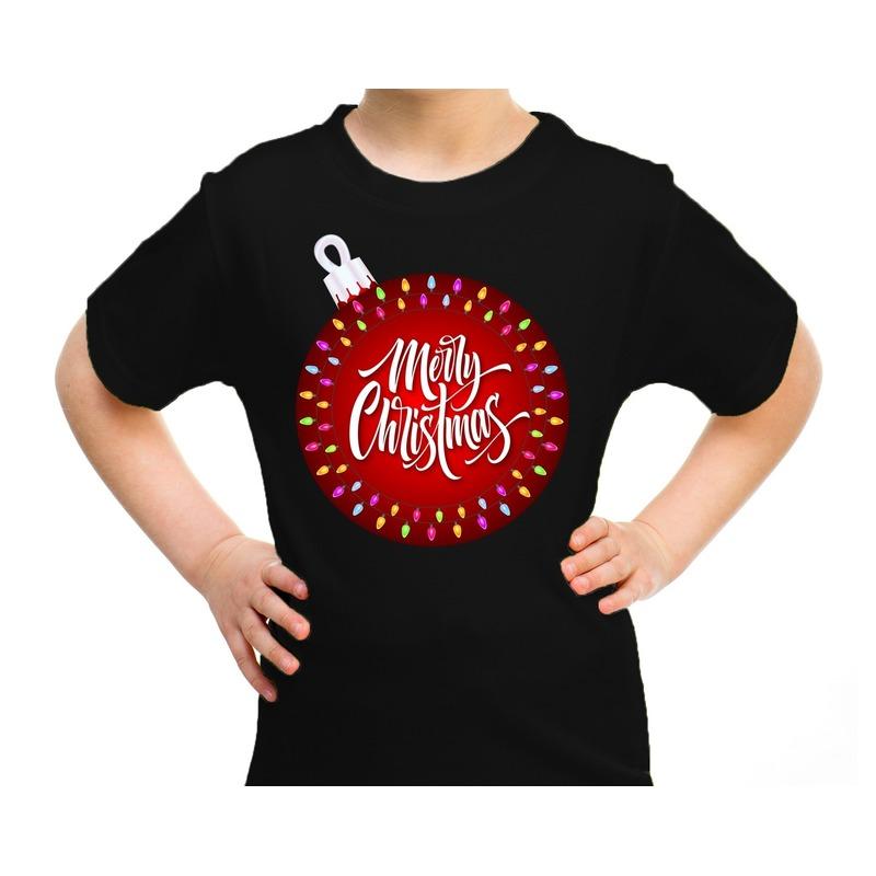 Zwart t-shirt / kerstkleding kerstbal merry christmas voor kinderen XS (104-110) Zwart