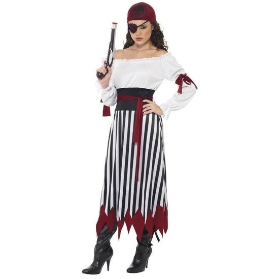 Zwart/wit/rood piraten verkleedkleding voor dames 36-38 (S) Multi