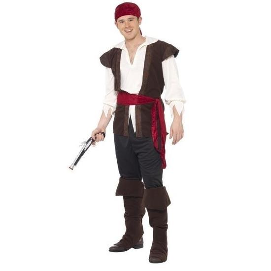 Zwart/wit/rood piraten verkleedkleding voor heren 52-54 (L) Zwart