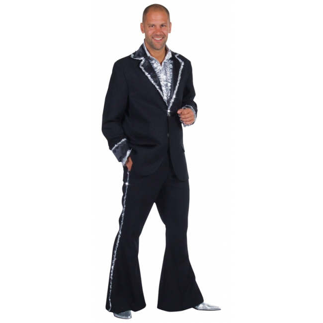 Zwarte BlingBling kostuums heren 60-62 (XL) Zwart