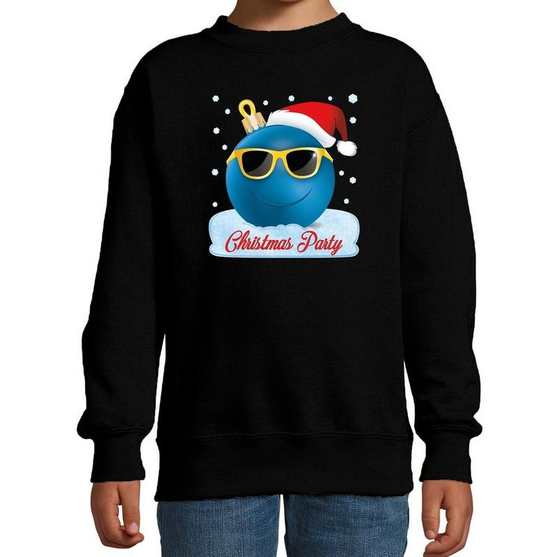Zwarte coole kersttrui / kerstkleding Christmas party voor jongens met stoere kerstbal bedrukking 3-4 jaar (98/104) Zwart