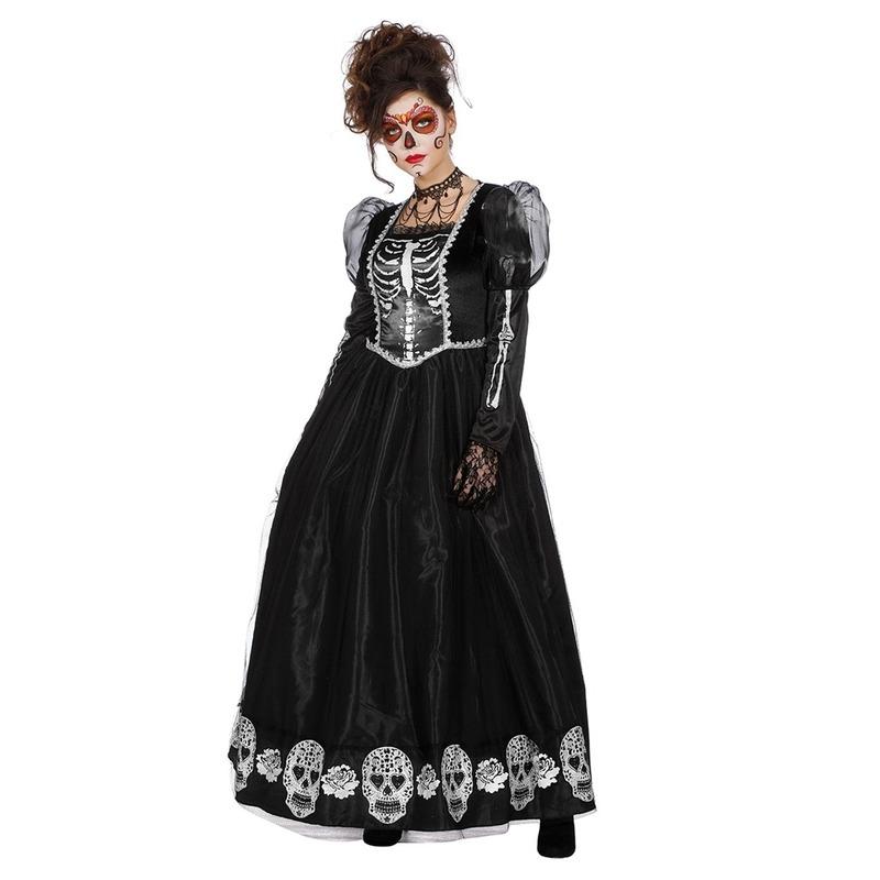 Zwarte day of the dead halloween jurk voor dames 40 (L) Zwart