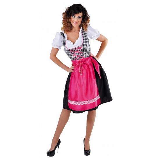 Zwarte dirndl jurk met roze schort voor dames L Multi