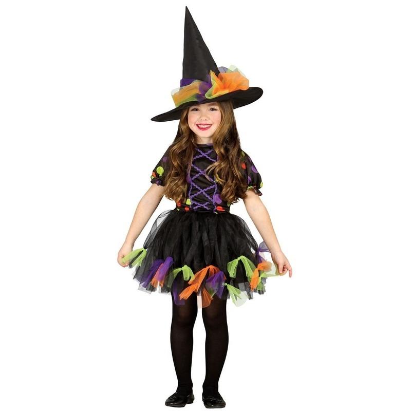 Zwarte heksen jurk voor meisjes 3-4 jaar (92-104) Zwart