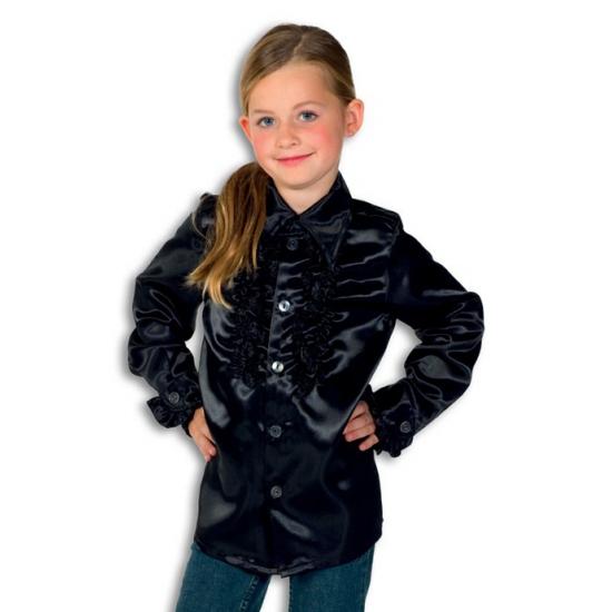 Zwarte hippie blouse voor jongens 164 Zwart