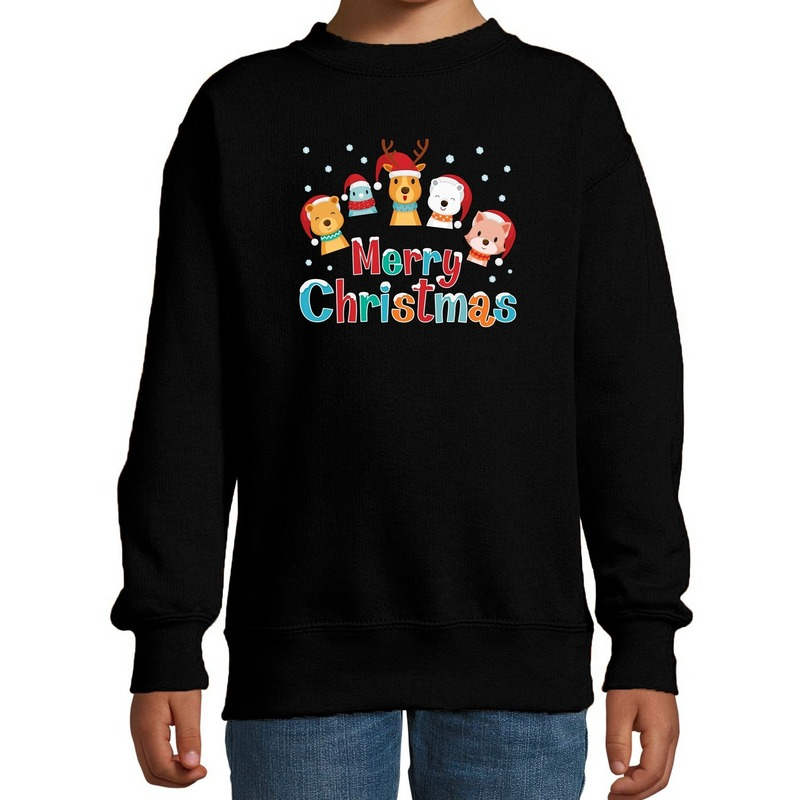 Zwarte kersttrui / kerstkleding dierenvriendjes Merry christmas voor kinderen 5-6 jaar (110/116) Zwart