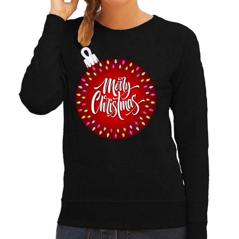 Zwarte kersttrui / kerstkleding kerstbal merry christmas voor dames M (38) Zwart