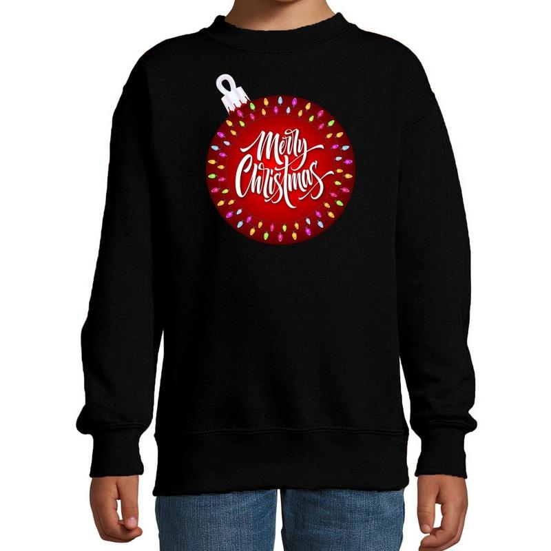 Zwarte kersttrui / kerstkleding kerstbal Merry christmas voor kinderen 14-15 jaar (170/176) Zwart