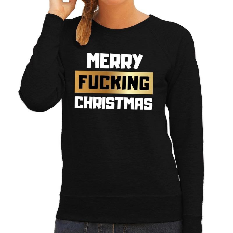 Zwarte kersttrui / kerstkleding merry fucking christmas voor dames S Zwart