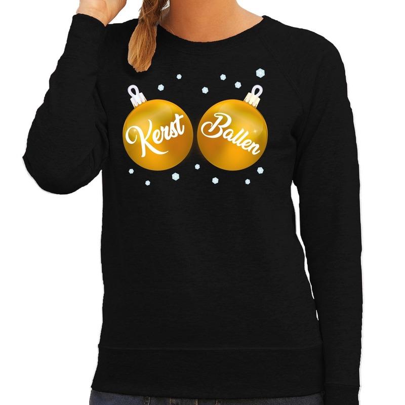 Zwarte kersttrui / kerstkleding met gouden Kerst Ballen voor dames XL (42) Zwart