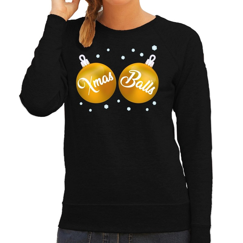 Zwarte kersttrui / kerstkleding met gouden Xmas Balls voor dames M (38) Zwart