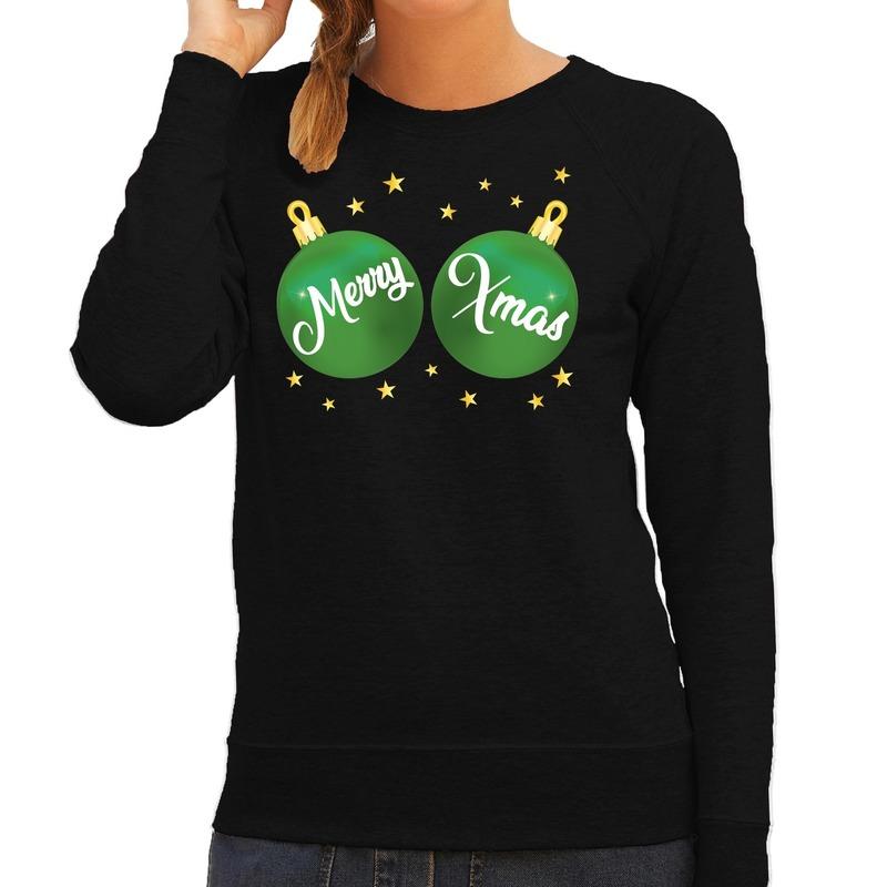 Zwarte kersttrui / kerstkleding met groene Merry Xmas voor dames S (36) Zwart