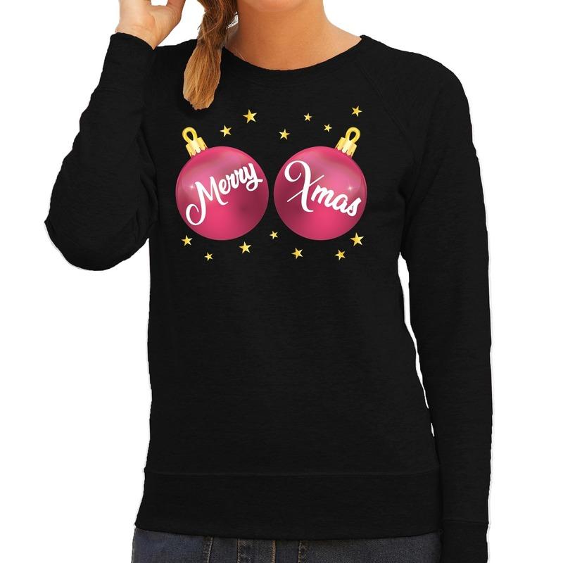 Zwarte kersttrui / kerstkleding met roze Merry Xmas voor dames L (40) Zwart