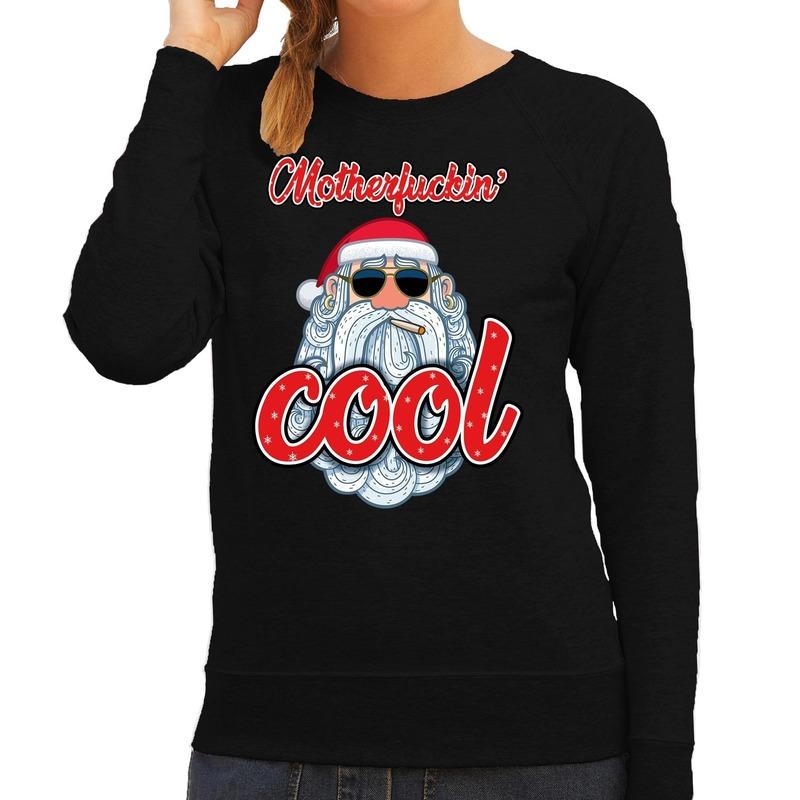 Zwarte kersttrui / kerstkleding motherfucking cool voor dames M (38) Zwart