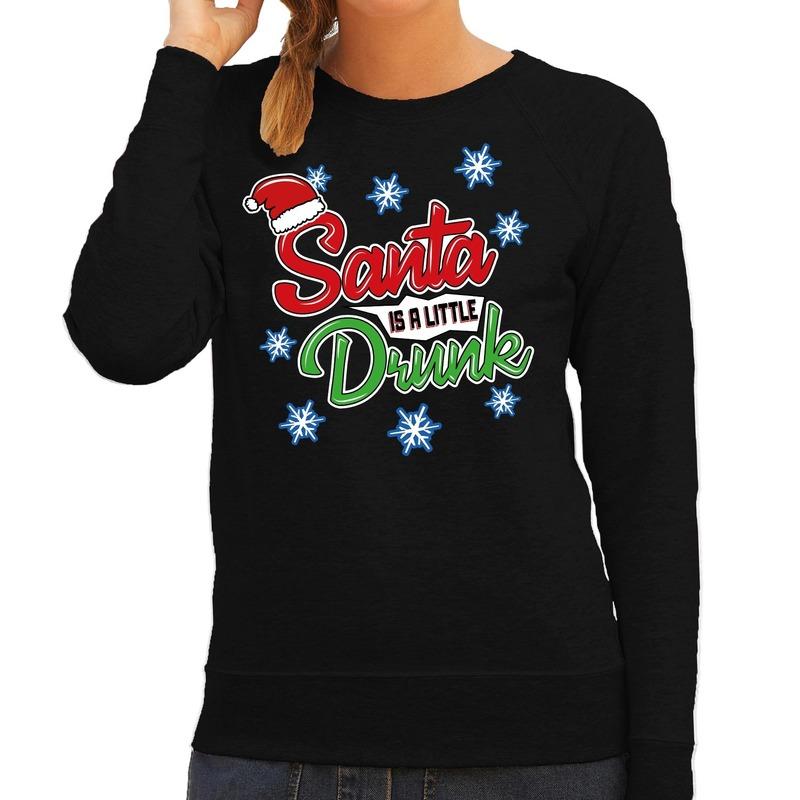 Zwarte kersttrui / kerstkleding Santa is a little drunk voor dames L (40) Zwart