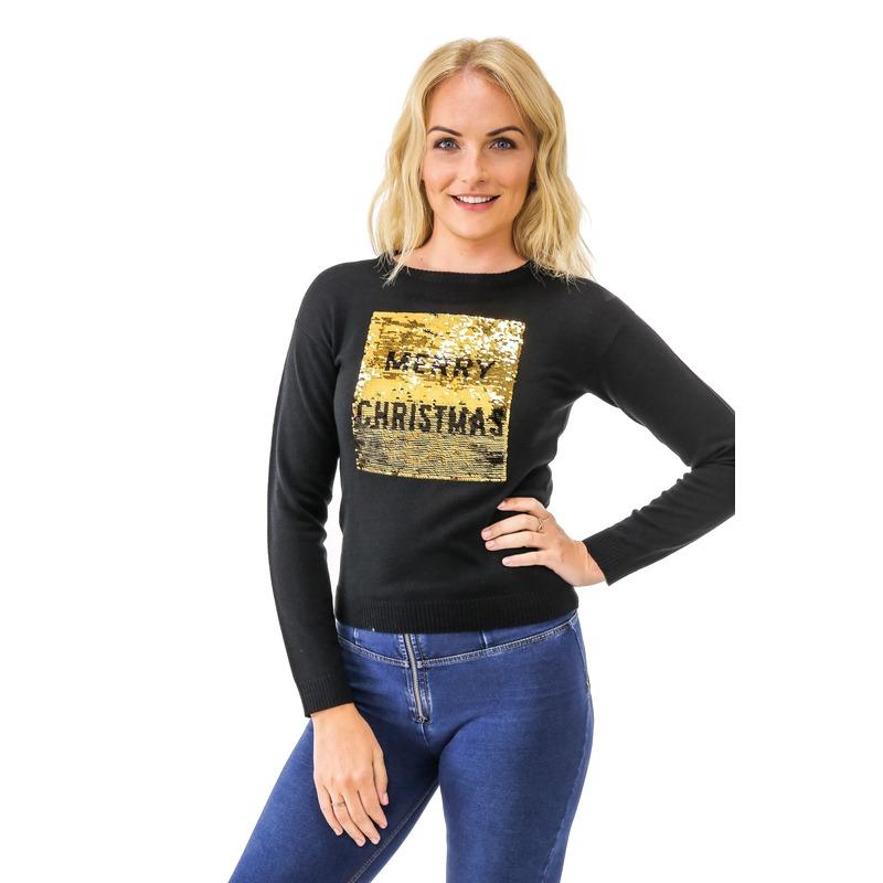 Zwarte kersttrui met pailletten Kersttrui pailletten dames Merry Christmas/Happy New Year dames XL (44/54) Zwart