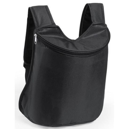 Zwarte koeltas rugzak/gymtas 40 cm met drawstring/rijgkoord Zwart