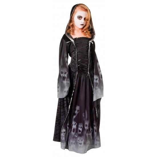Zwarte lange zombie jurk voor meiden 128 - 6-8 jr Multi