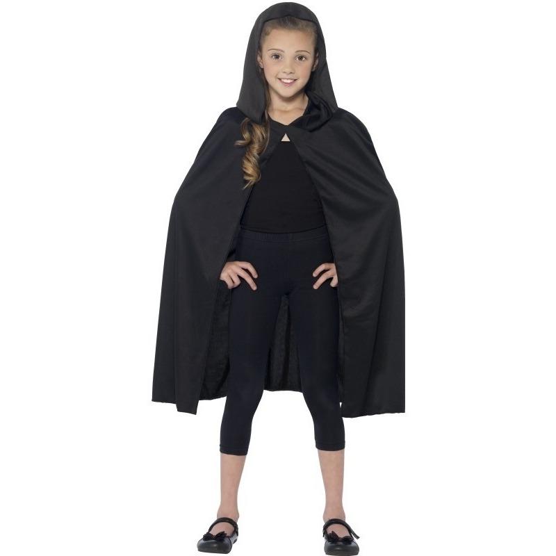 Zwarte mantel met capuchon voor kinderen One size Zwart
