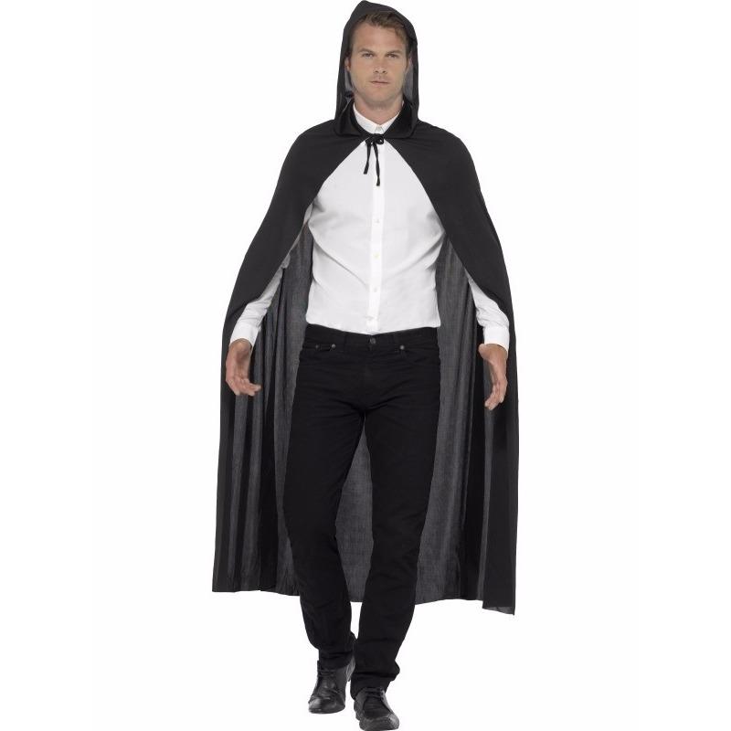 Zwarte mantel met capuchon One size Zwart