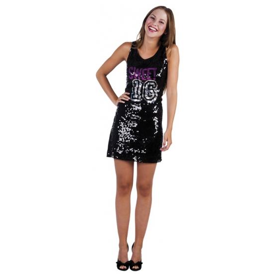 Zwarte pailletten jurkjes sweet 16 M Zwart