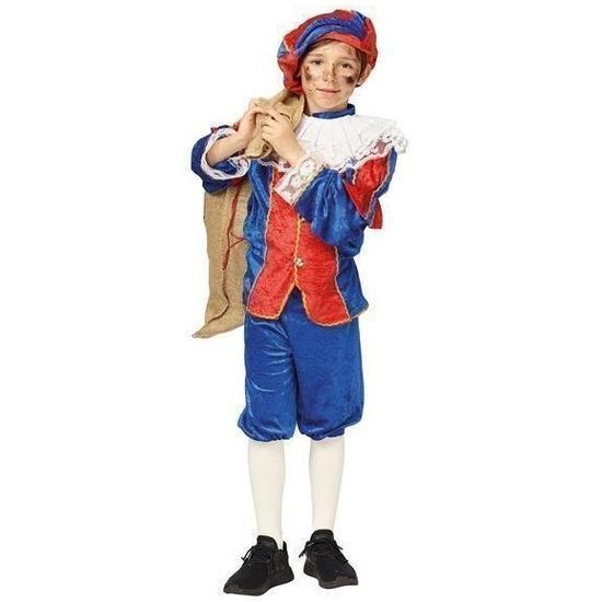 Zwarte Piet pak rood/blauw kinderen 104 Multi