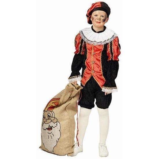 Zwarte Piet pak rood/zwart kinderen 164 Multi