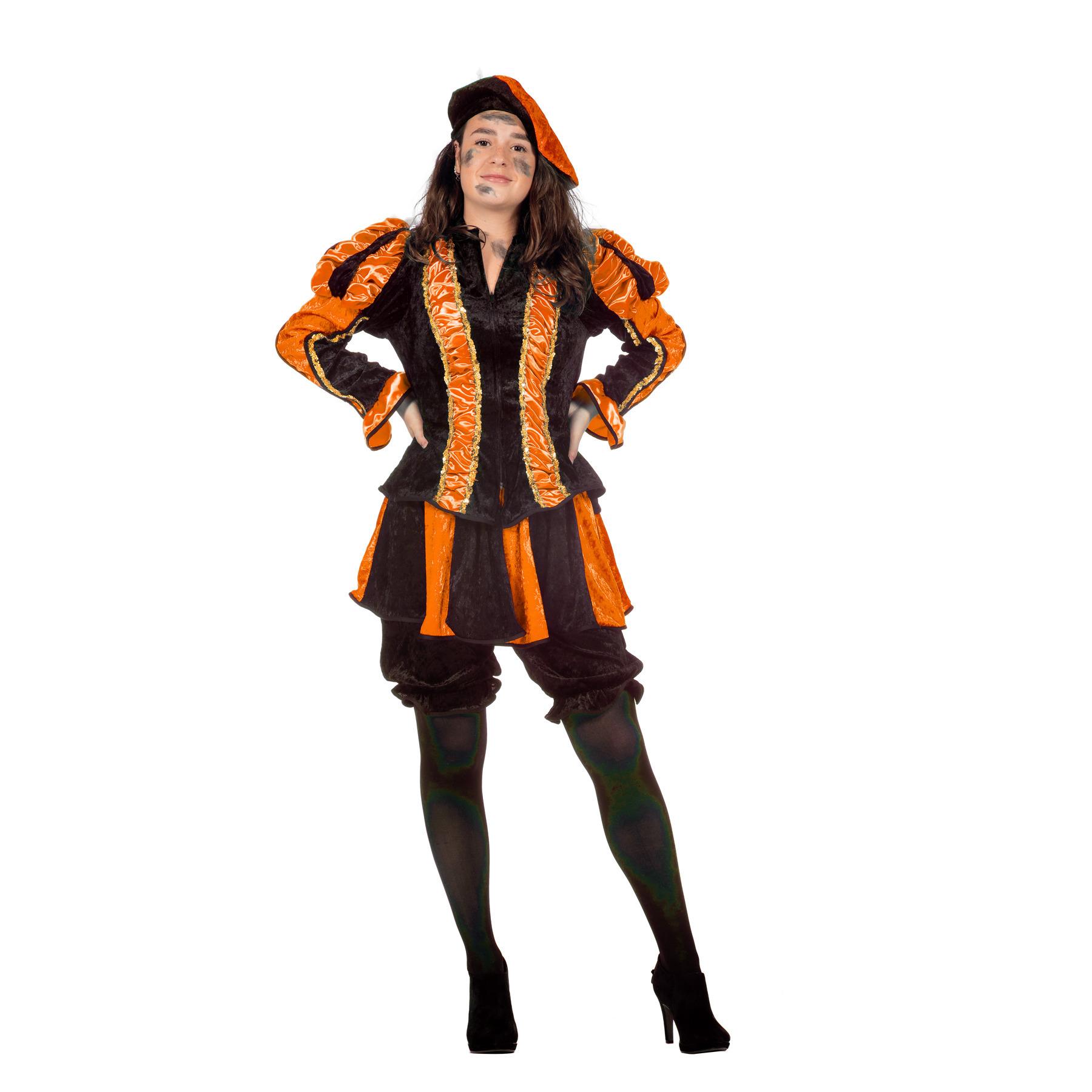 Zwarte pieten kostuum dames oranje 44 (2XL) Oranje