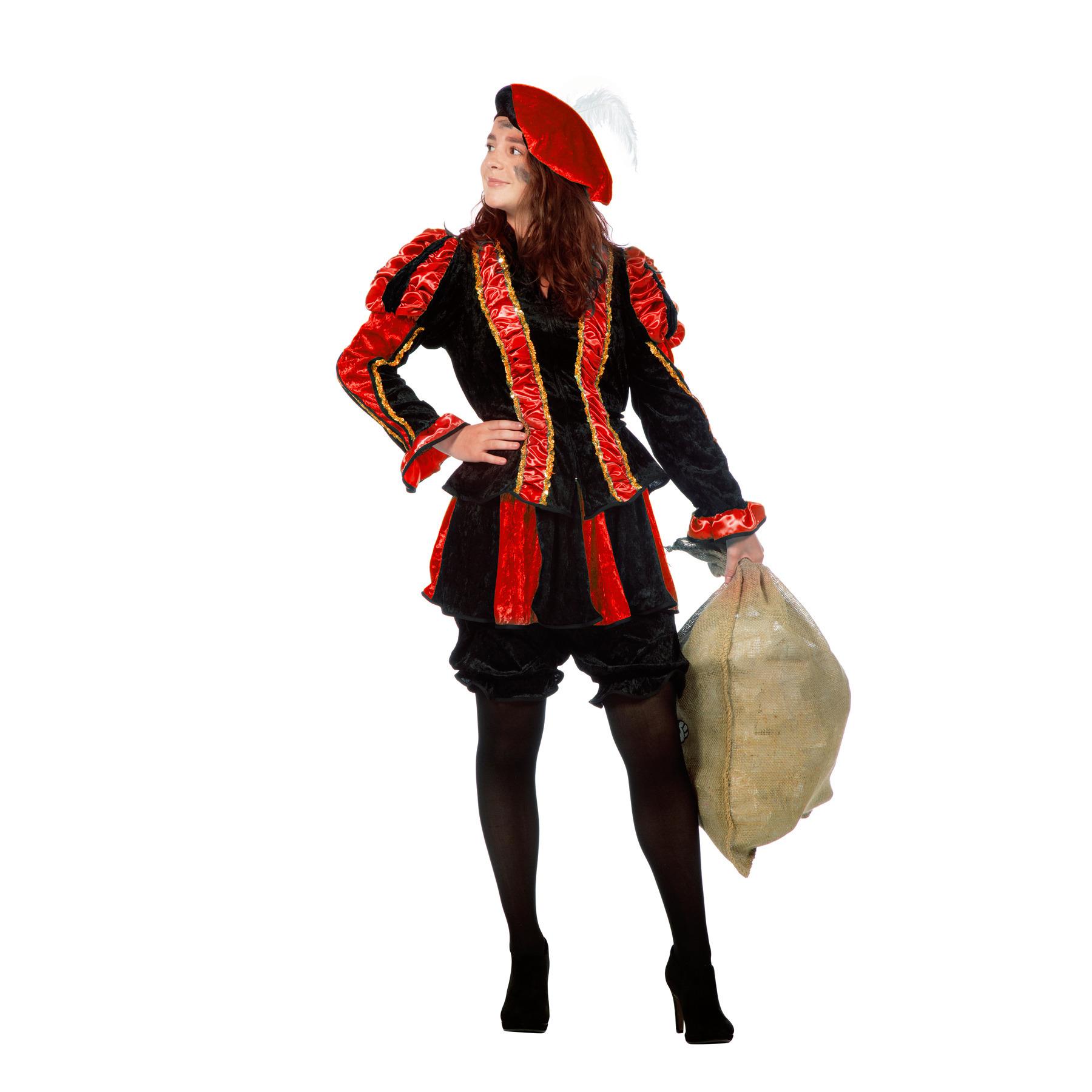 Zwarte pieten kostuum dames rood 38 (M) Multi