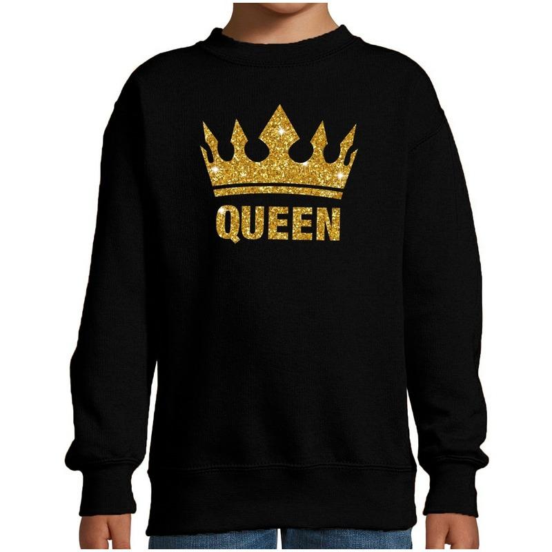 Zwarte Queen gouden glitter kroon trui kinderen M (134-140) Zwart