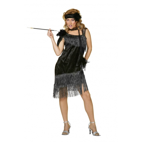 Zwarte roaring twenties jurk 38 (M) Zwart