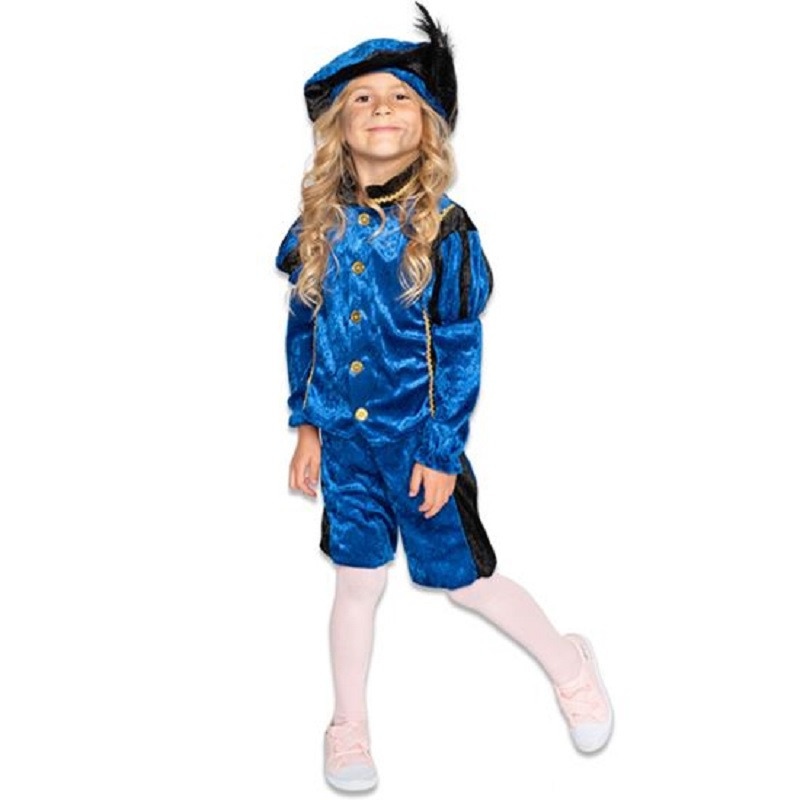 Zwarte roetveeg Pieten outfit/kostuum zwart met blauw voor jongens/meisjes 140 (9-10 jaar) Paars