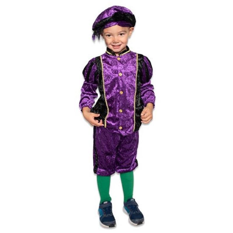 Zwarte roetveeg Pieten outfit/kostuum zwart met paars voor jongens/meisjes 164 (13-14 jaar) Paars