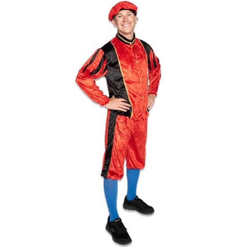 Zwarte roetveeg Pieten outfit/kostuum zwart met rood voor dames/heren S (36/48) Paars