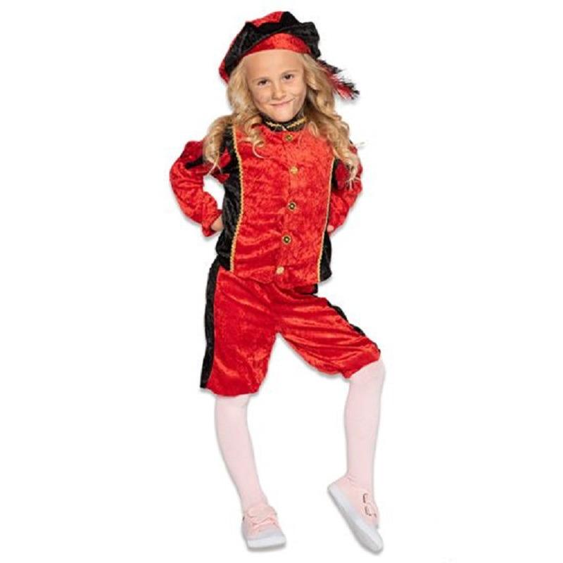 Zwarte roetveeg Pieten outfit/kostuum zwart met rood voor jongens/meisjes 140 (9-10 jaar) Paars