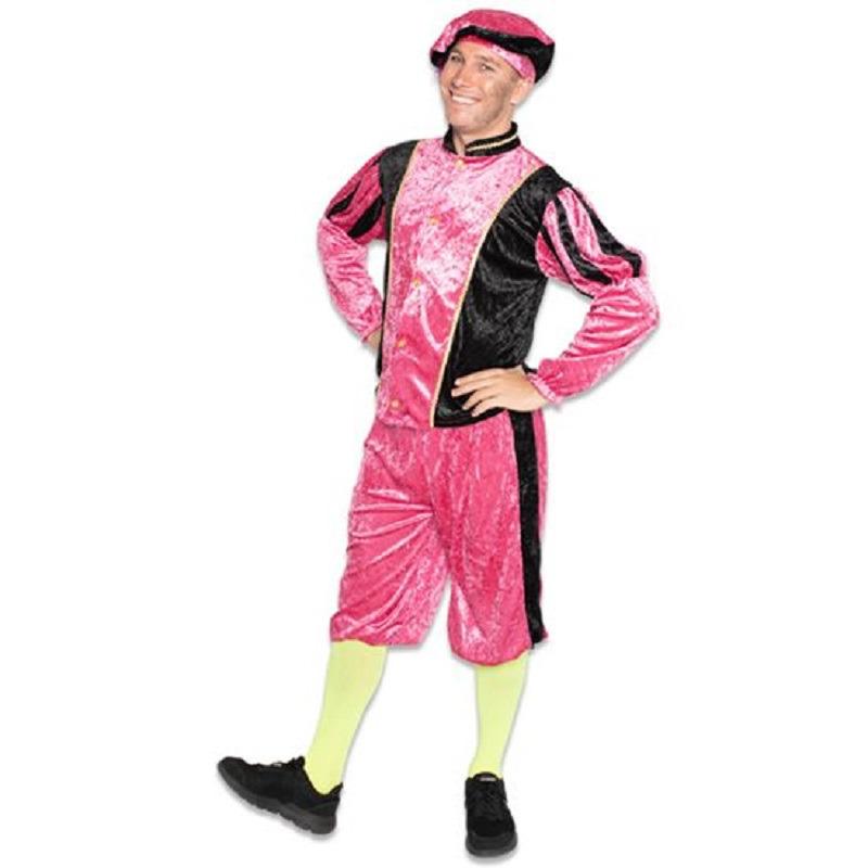 Zwarte roetveeg Pieten outfit/kostuum zwart met roze voor dames/heren 2XL (44/56) Paars