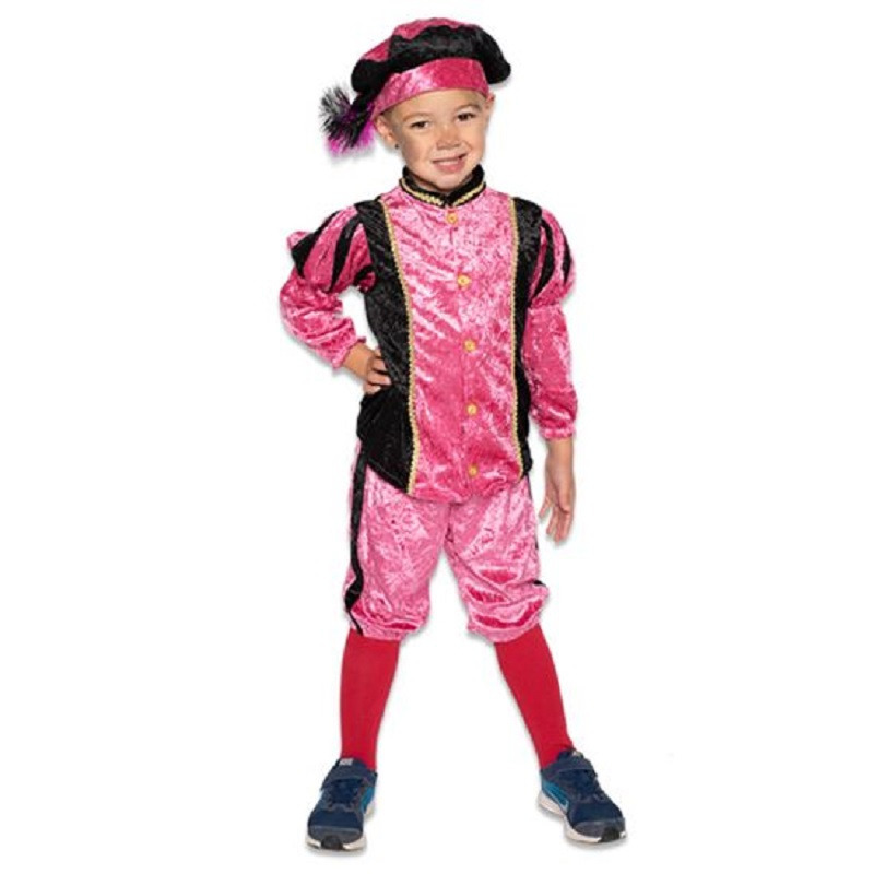 Zwarte roetveeg Pieten outfit/kostuum zwart met roze voor jongens/meisjes 116 (5-6 jaar) Paars