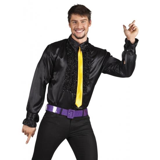 Zwarte rouche overhemd voor heren M Zwart