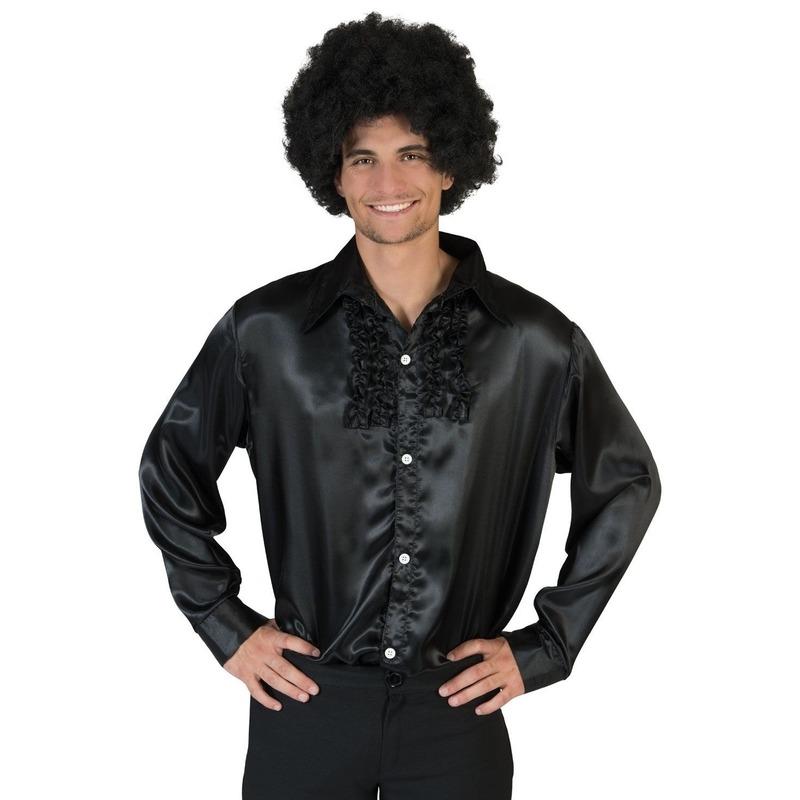 Zwarte rouche overhemd voor heren 48-50 (S/M) Blauw