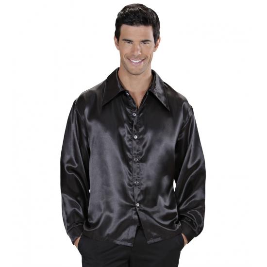 Zwarte satijnen disco blouse L Zwart
