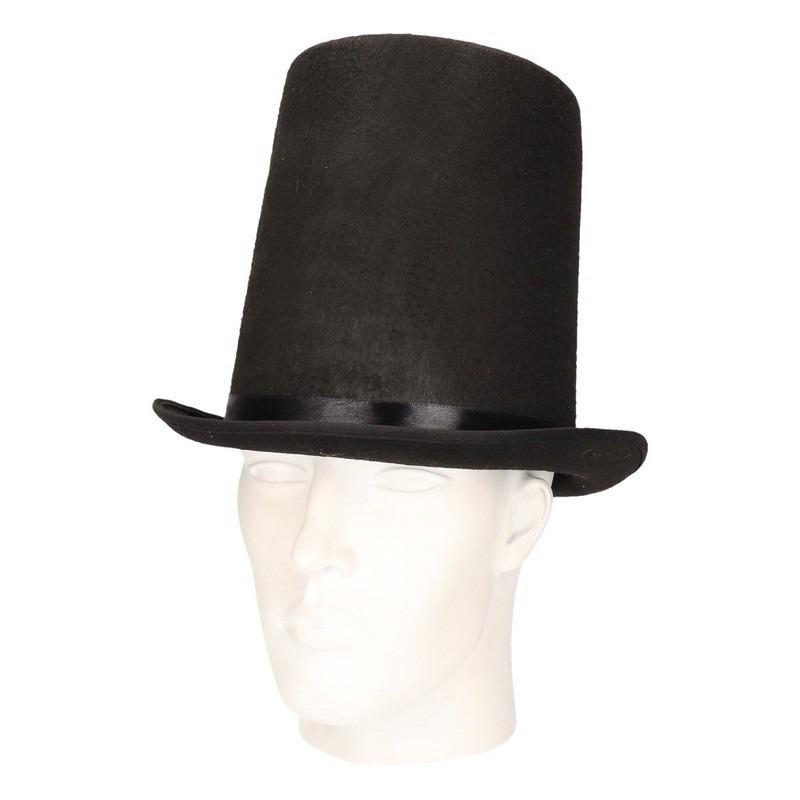 Zwarte verkleed hoed Abraham Lincoln voor volwassenen Zwart