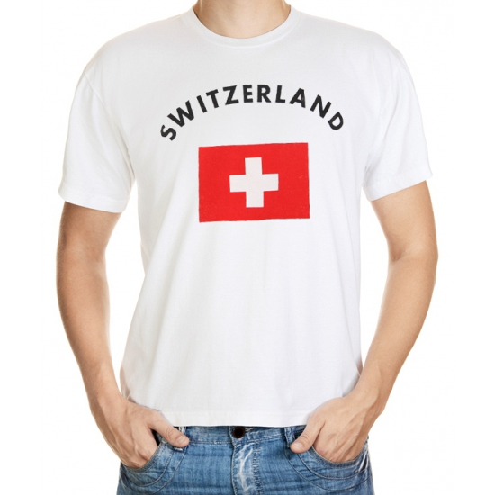 Zwitserse vlag t-shirt S Wit
