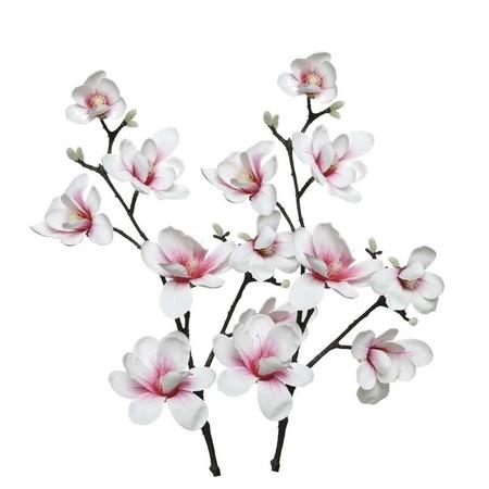 2x Wit Roze Magnolia Beverboom Kunstbloemen Takken 100 Cm Decoratie Fun En Feest