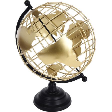 Wereldbol Wereldbal Decoratie Zwart Goud Metaaldraad 28 X 35 Cm Fun En Feest